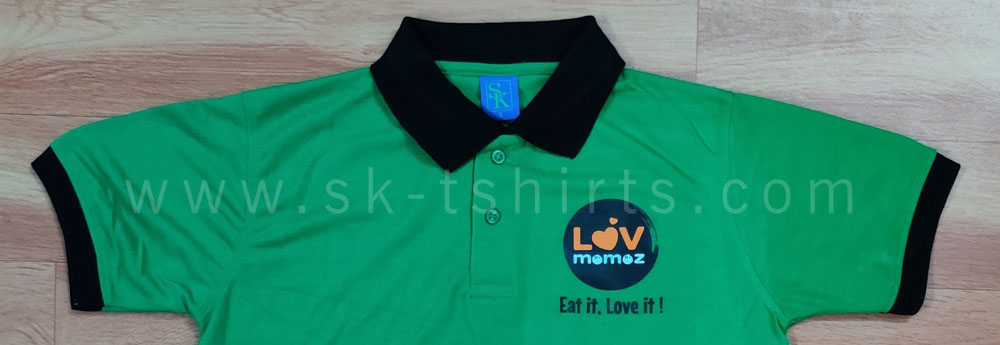 Custom made poly-cotton uniform collar tshirt for restaurant
