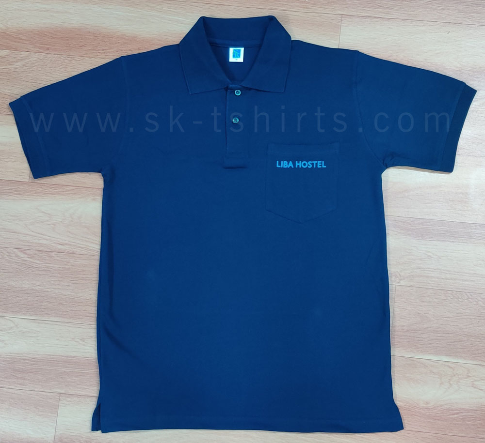 cotton collar tshirt with pocket and logo