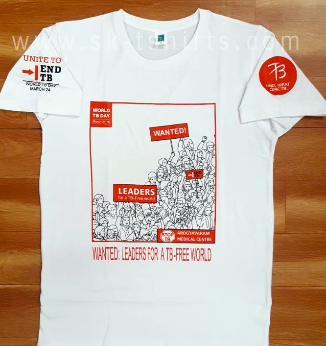 White t-shirt for 'world TB day'