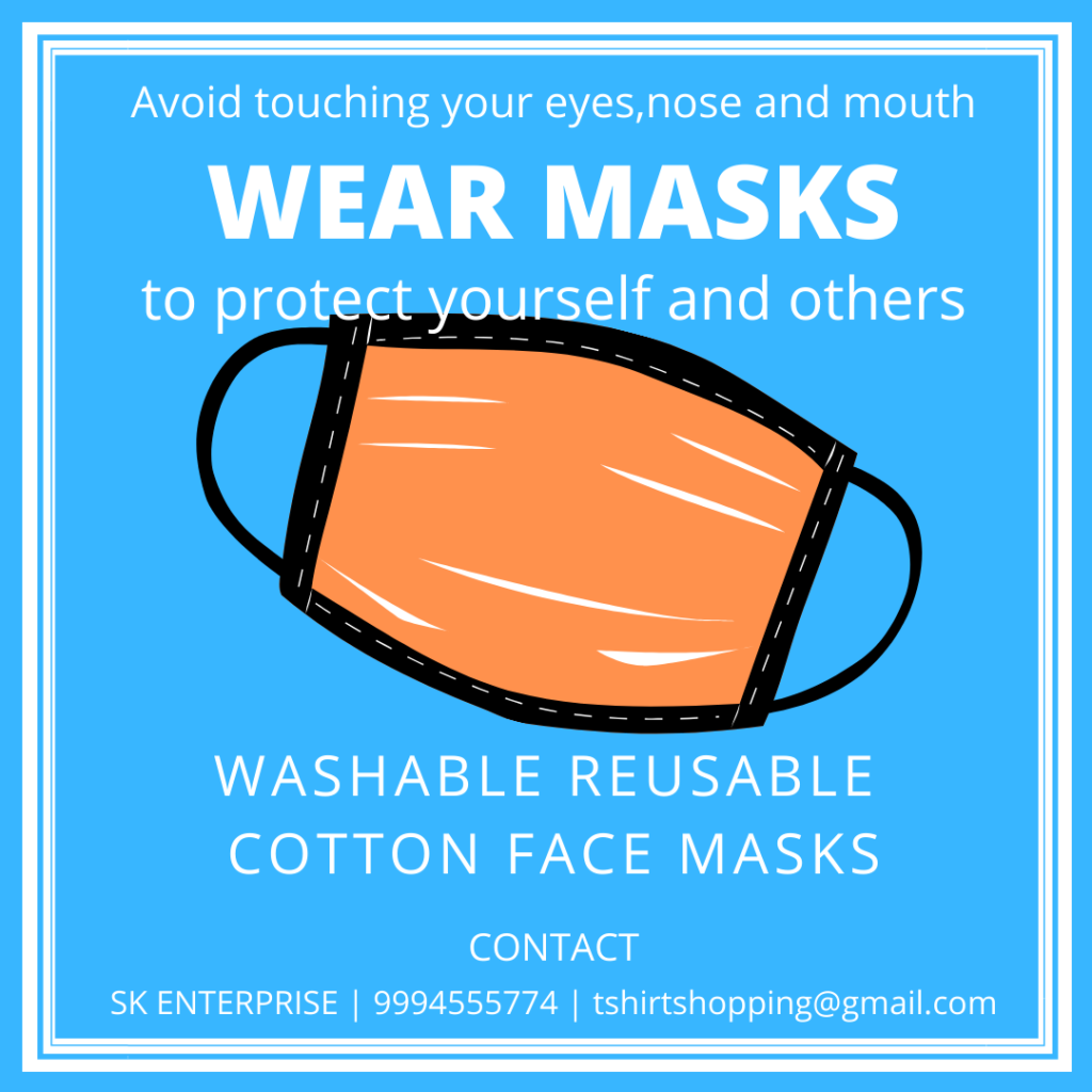 Washable face masks readily available!