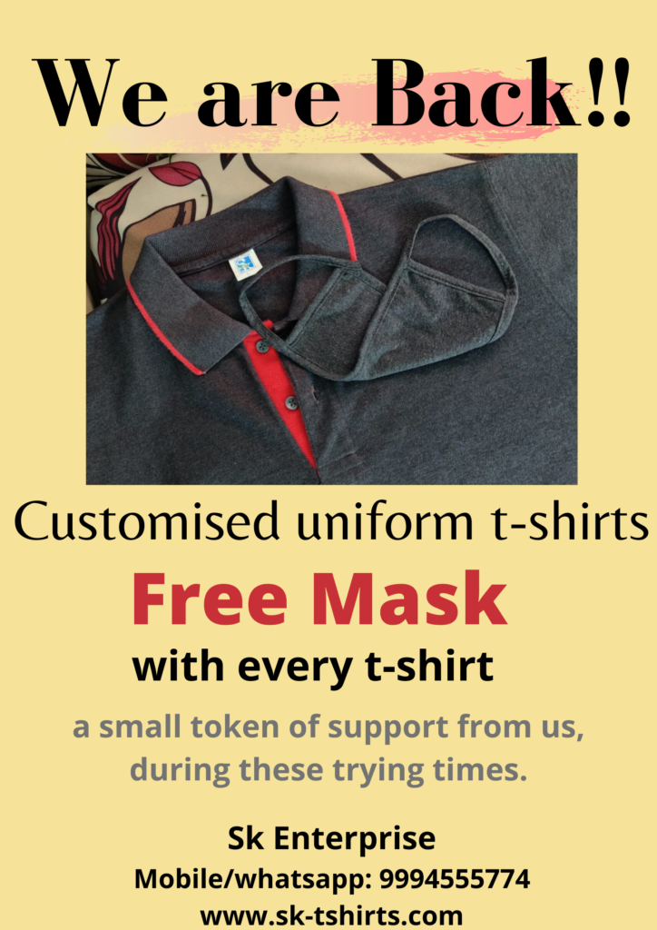 Want to order Customised Corporate Uniform t-shirts and reusable face masks?