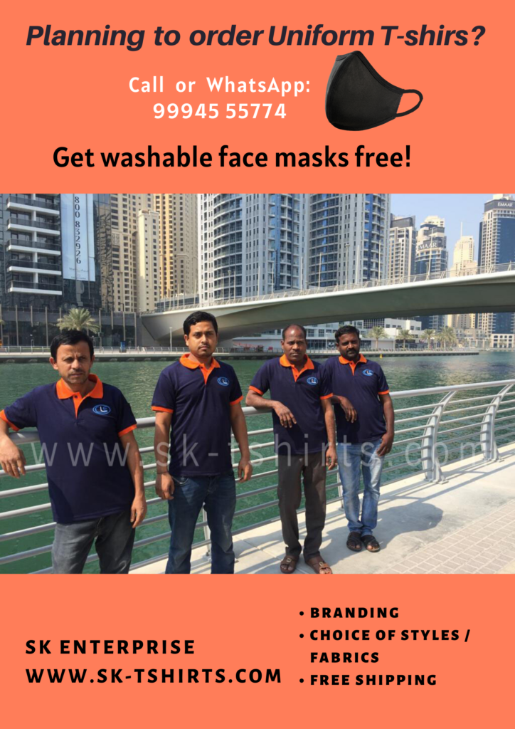 Want to buy uniform t-shirts and washable face masks with logo printing?