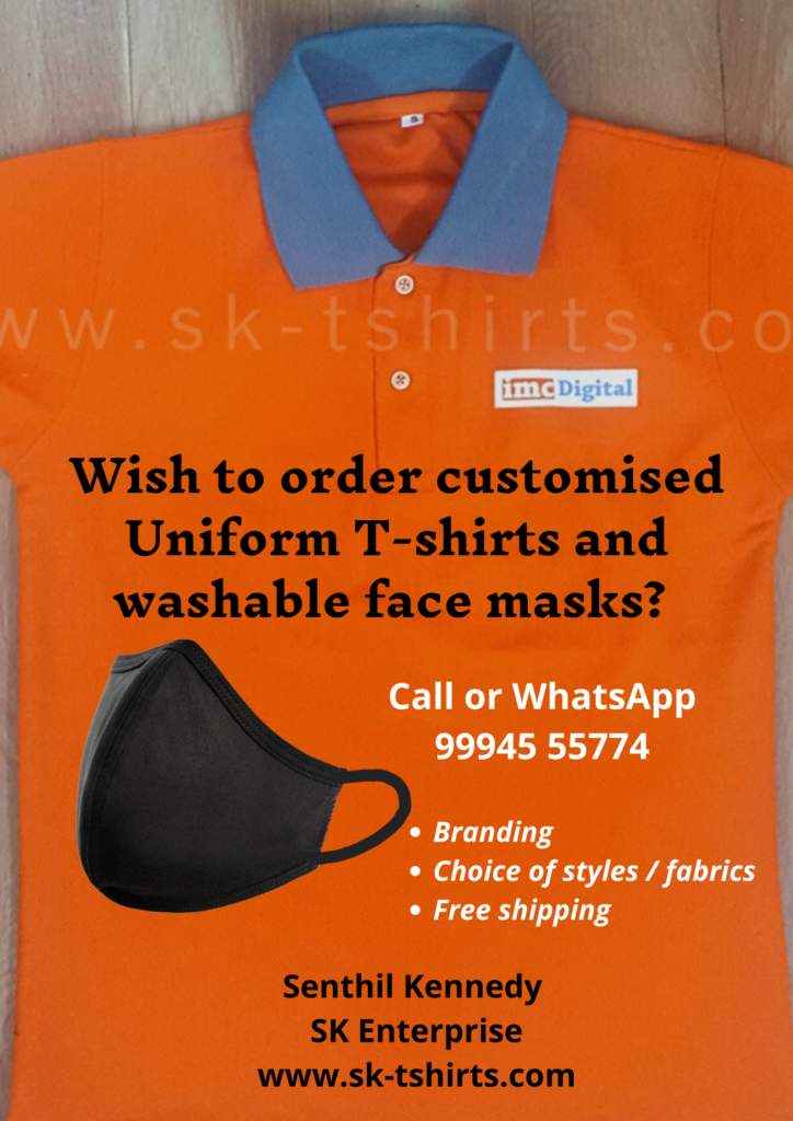 Want to buy uniform t-shirts and washable two layer cloth masks?