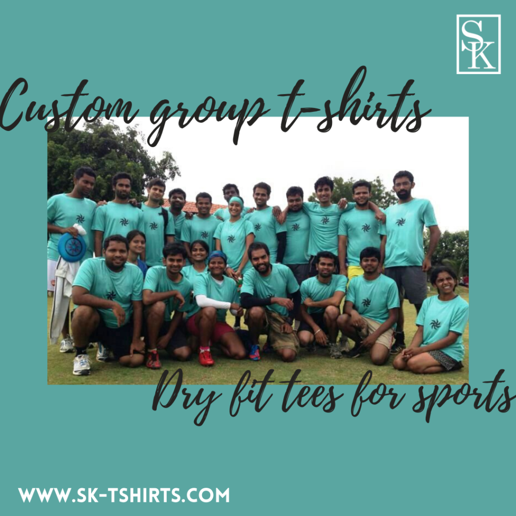 Want to order custom group t shirts for sports? Delivery at Chennai, Bangalore, Pune, Mumbai, Delhi, Trichy, Coimbatore, Thanjavur, Trivandrum, Cochin and all over India.