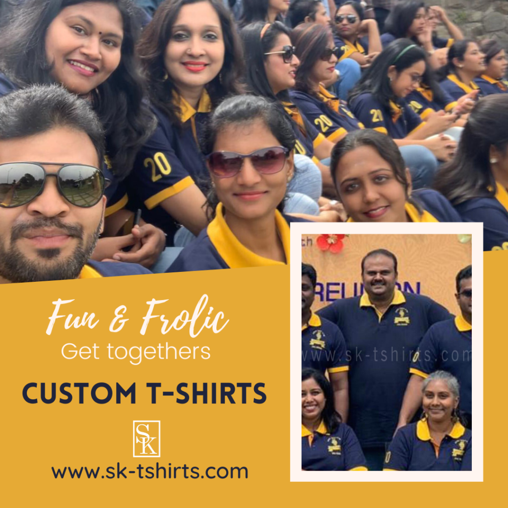 The best place for Custom T-shirt Printing is SK Enterprise, Tirupur, Tamilnadu who free deliver all over India.