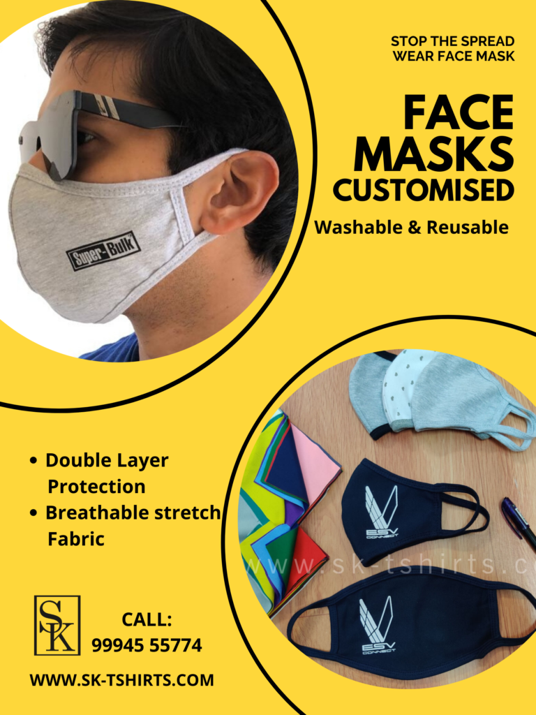Custom printed washable Face masks, Business logo and name printed face masks. Delivery all over India.