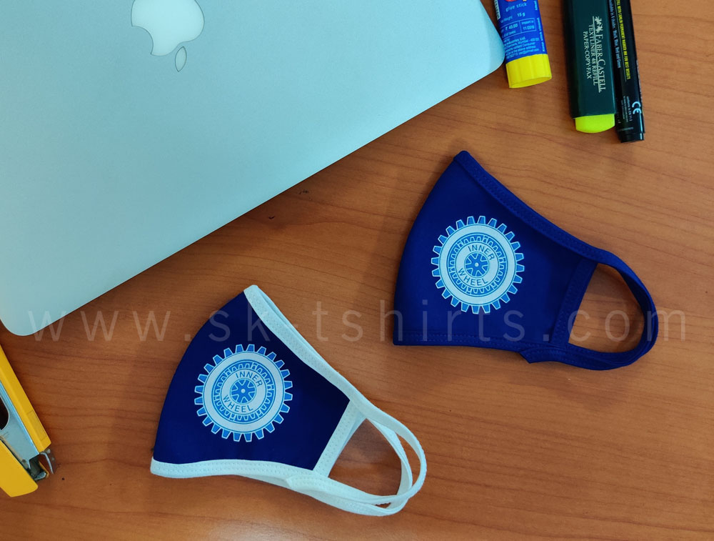 Washable Face Masks with logo printing. Made for Innerwheel Club. Delivery at Chennai, Bangalore, Madurai, Coimbatore, Trichy, Thanjavur, Kumbakonam, Trinelveli, Kanyakumari and all over India.