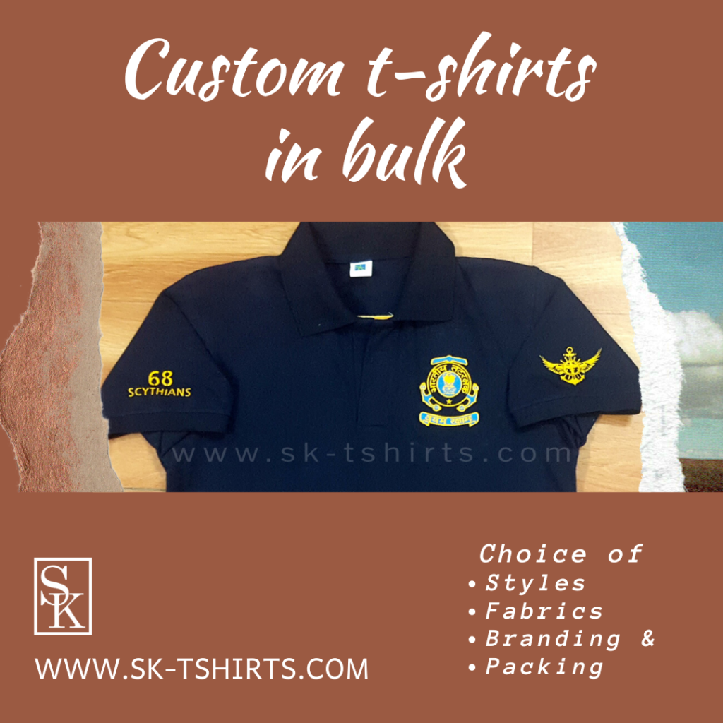 Best place to order Custom   t-shirts in bulk with logo printing? Free delivery all over India.