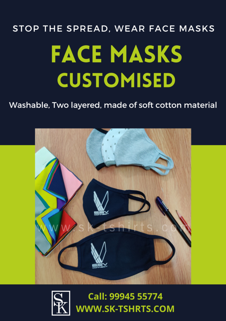 Two layer washable customised Face masks with name and logo printing near me? Free delivery all over India.