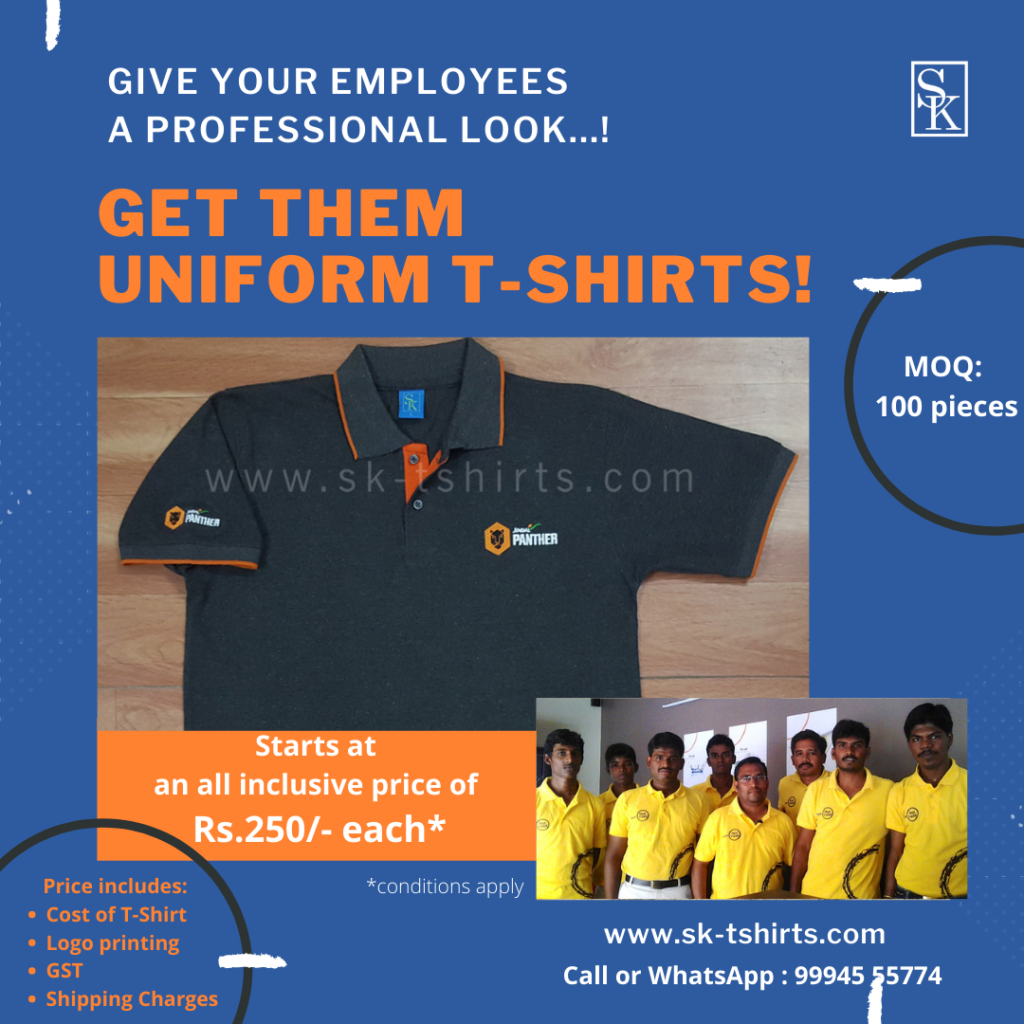 How to make your business look professional?                                Get your employees well-designed quality uniform t-shirts.
