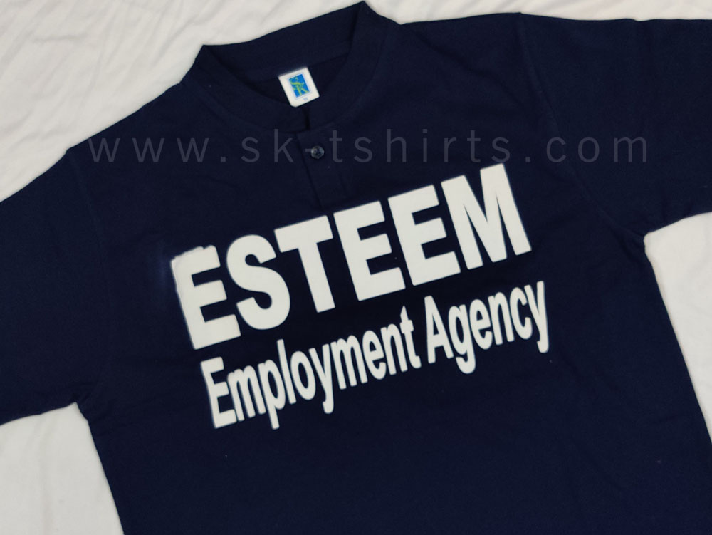 Custom made Chinese collar t-shirt in cotton with logo print