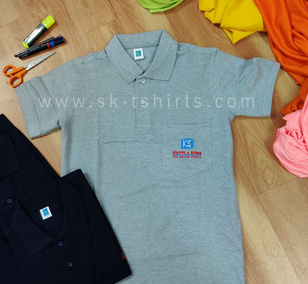 Custom t-shirts: Top Quality Grey color Cotton/Polo t-shirt with pocket and Company logo embroidery
