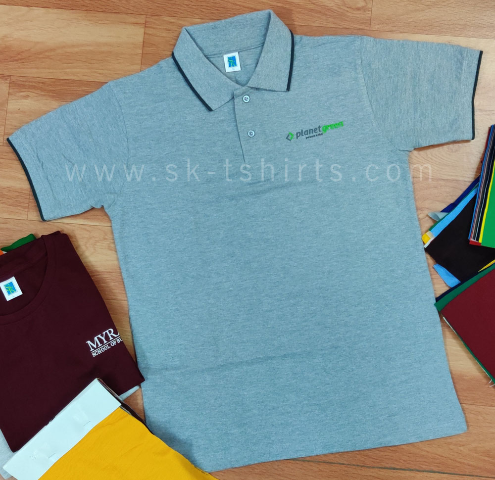 Where to get custom uniform t-shirts with logo in good quality?  At SK Tshirts, Tirupur.