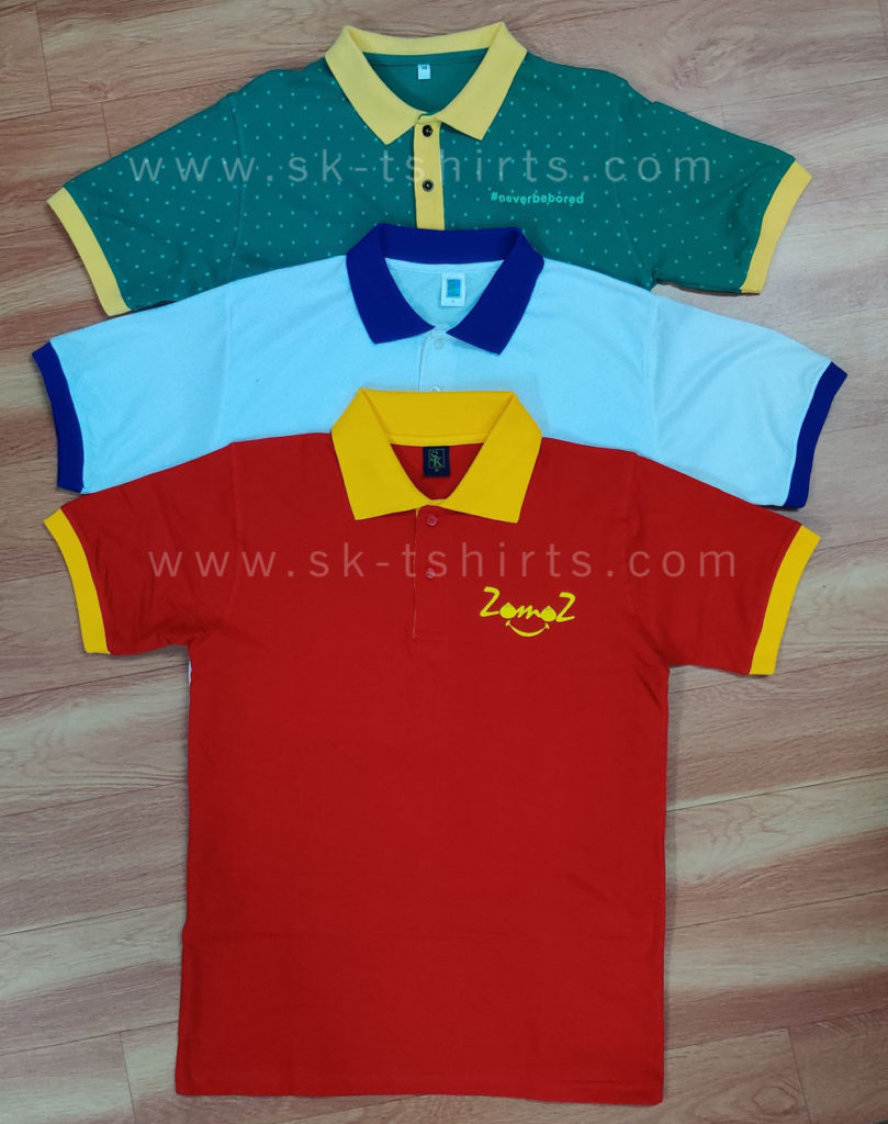 First Quality Cotton Polo t-shirt with custom printing for uniform purpose.