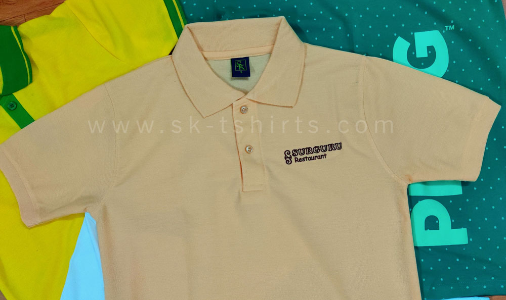 Customised Polo T-shirt with Logo embroidery for Hotel Uniforms