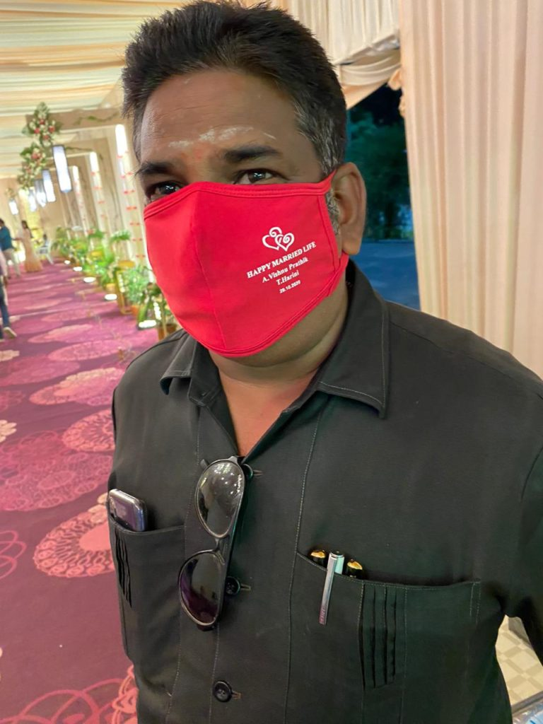 custom printed face masks for wedding, functions, uniform etc