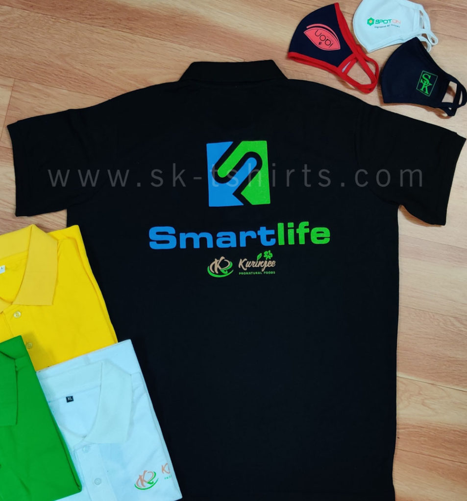 Uniform collar t-shirts and face masks with custom logo printing for uniform