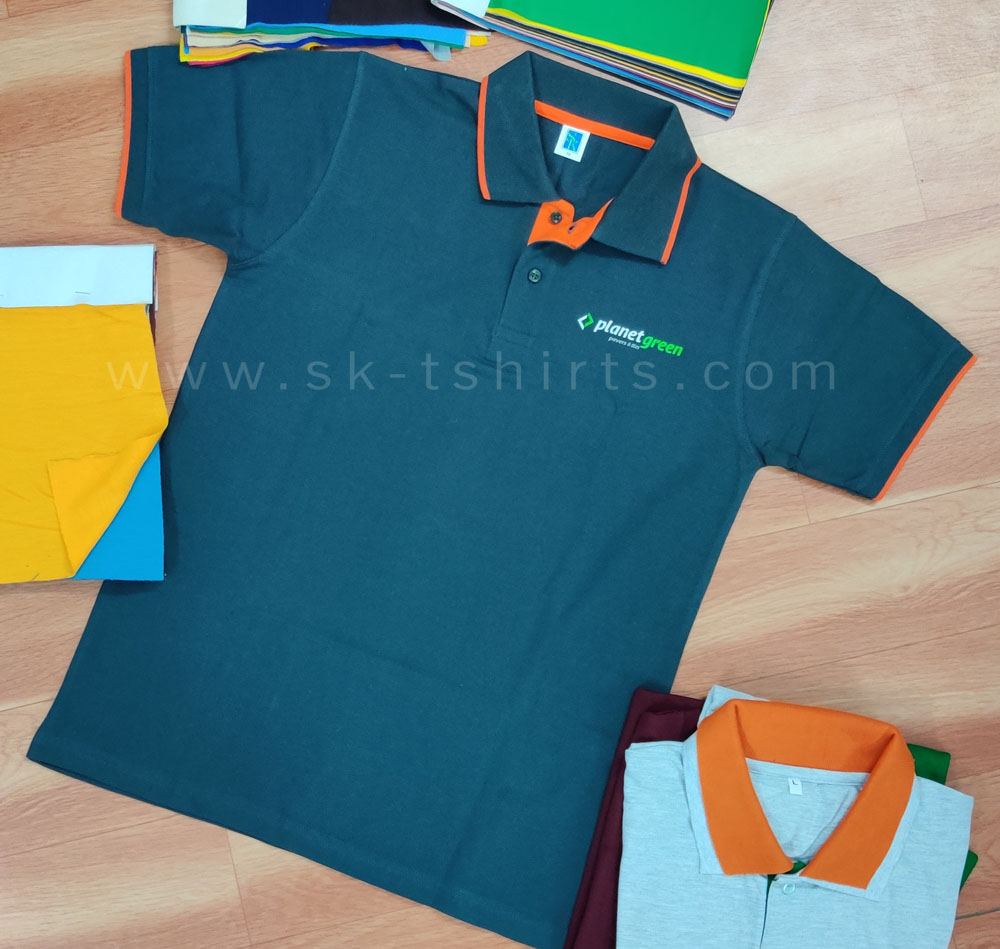 Cotton Polo-tshirt with tipping collar and sleeve cuffs and custom logo printing
