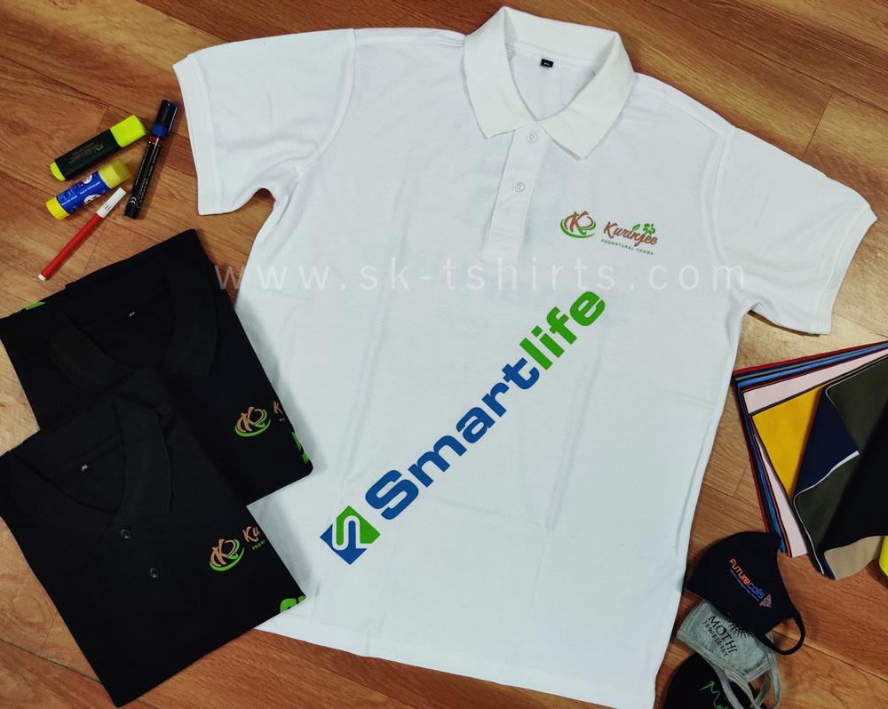 Top place to order customised uniform polo t-shirts with printing?                                   SK T-shirts, Tirupur, Tamilnadu who deliver all over India.