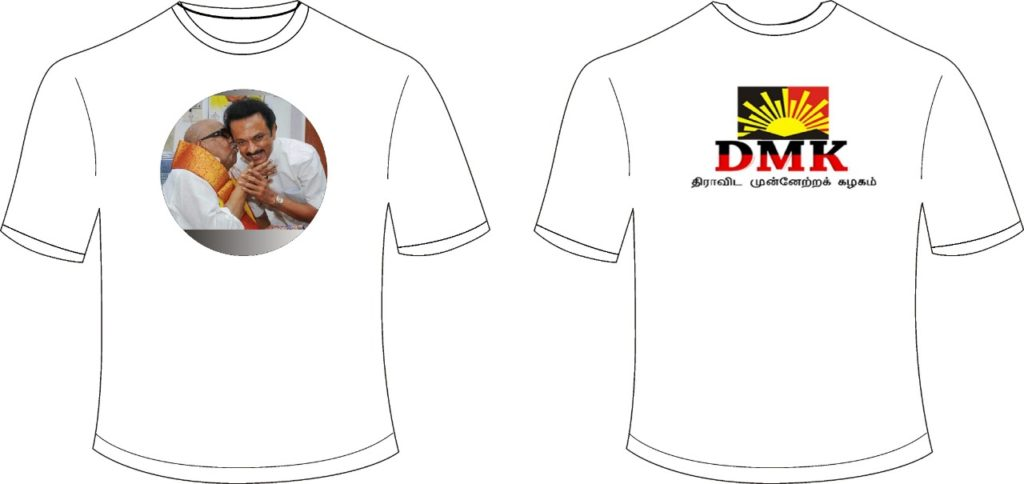 election t-shirts ADMK, DMK, BJP, Congress, MNM