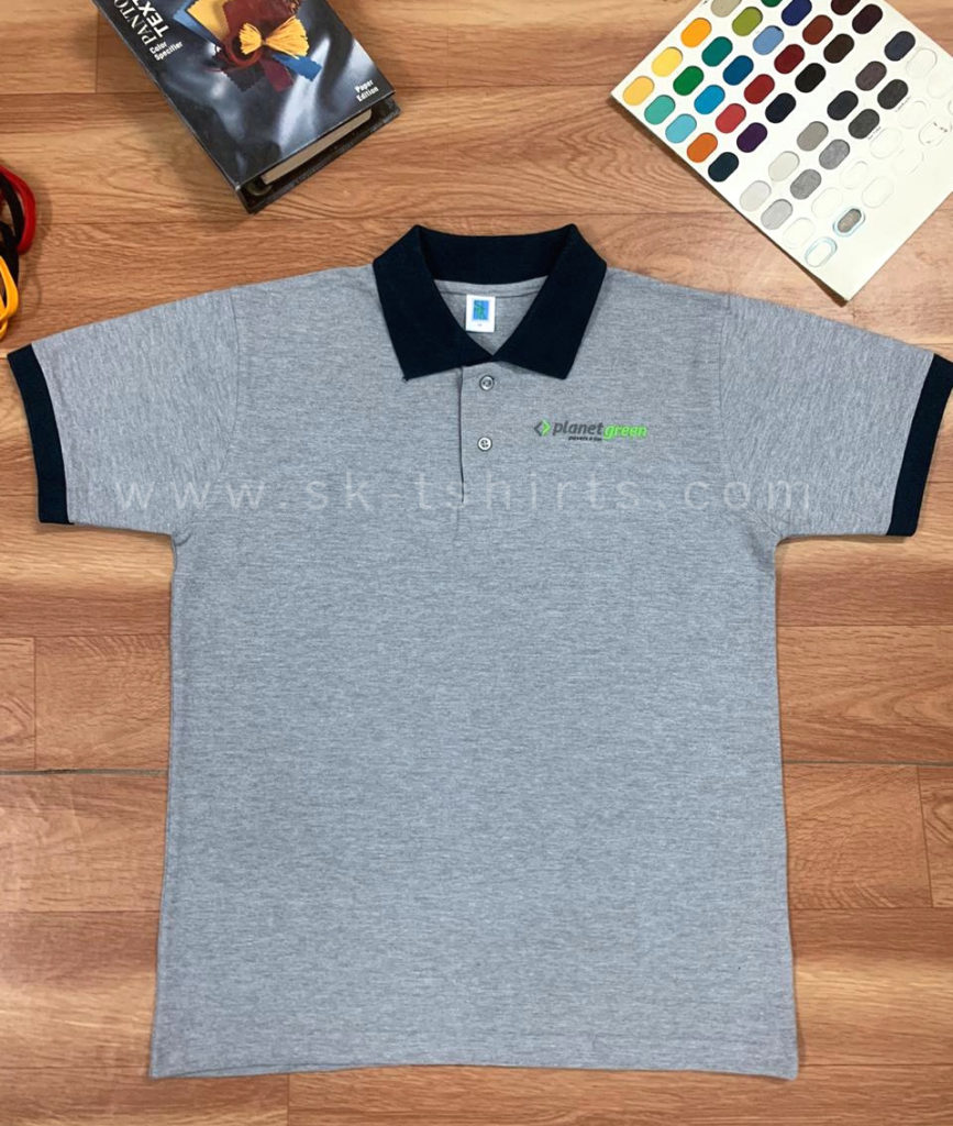customised cotton collar t-shirt with logo printing - high density printing